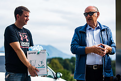 Ljubo Jasnic  with Tomi Trbovc during practice session of Slovenian national Ski Jumping team on 18 August, 2020, in Kranj, Slovenia.  Photo by Grega Valancic / Sportida