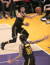 February 8, 2018 - Los Angeles, California, U.S - Josh Hart #5 of the Los Angeles Lakers passes the ball during their NBA game with the Oklahoma Thunder on Thursday February 8, 2018 at the Staples Center in Los Angeles, California. Lakers vs. Thunder. (Credit Image: © Prensa Internacional via ZUMA Wire)