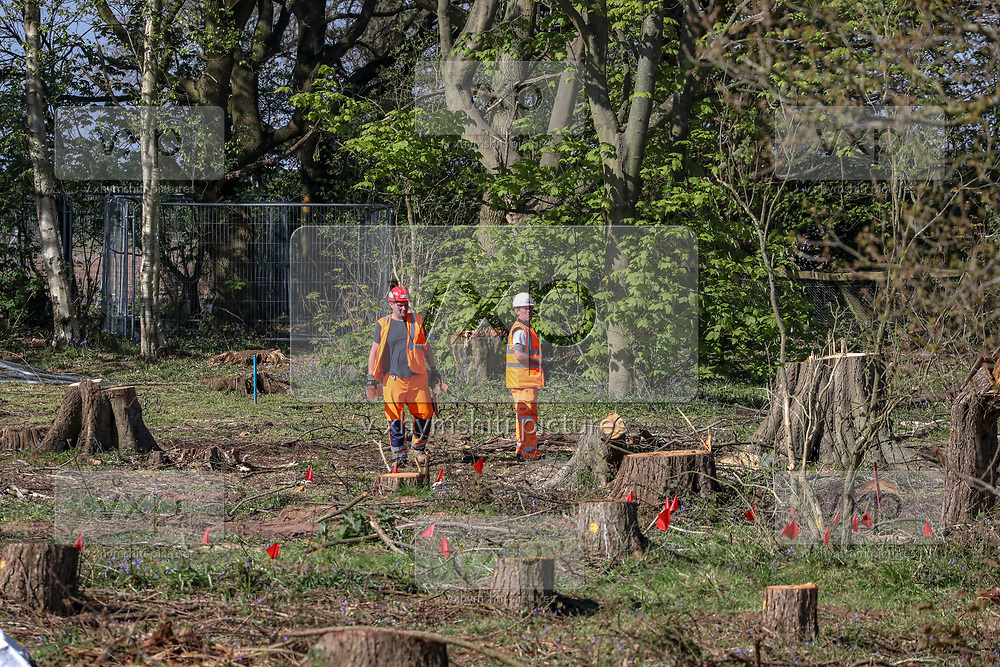 "The HS2 construction works are seen to continue with ""business as usual"" in Crackley Woods, Coventry construction site on Tuesday, April 14, 2020. (Photo/Vudi Xhymshiti)<br /> HS2 investors are challenging Public Health England and World Health Organisation guidance which aims to curb the spread of coronavirus pandemic outbreak in Britain. Although Britain has seen over 12 thousand of its citizens dying due to Covid19 outbreak since January this year, Government has given the green light for companies to start putting spades in the ground to build a new high-speed rail line, saying work could proceed in line with coronavirus safety guidelines despite the national lockdown."