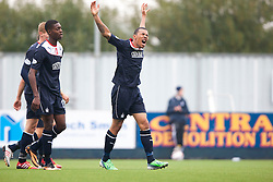 Falkirk's Phil Roberts celebrates after scoring their goal.<br /> Falkirk 1 v 2 Dumbarton, Scottish Championship game played today at the Falkirk Stadium.<br /> ©Michael Schofield.