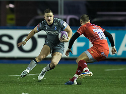 Hallam Amos of Cardiff Blues<br /> <br /> Photographer Simon King/Replay Images<br /> <br /> European Rugby Challenge Cup Round 2 - Cardiff Blues v Leicester Tigers - Saturday 23rd November 2019 - Cardiff Arms Park - Cardiff<br /> <br /> World Copyright © Replay Images . All rights reserved. info@replayimages.co.uk - http://replayimages.co.uk