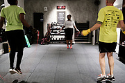 WASHINGTON, DC - NOVEMBER 14: Patrons of NUBOXX participate in a boxing conditioning class on Wednesday, November 14, 2018 in Washington, DC. Once a sweaty, gritty environment of men, the recent trend of fitness boxing is now all about brightly-lit studios and fresh millennial faces working the heavy or speed bag. (Photo by Pete Marovich For The Washington Post)