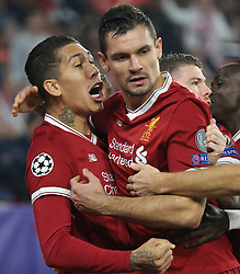 Roberto FIRMINO of Liverpool CF has just shot the 0-1 leading goal in and here receives Dejan Lovrençs greetings during the UEFA Champions League, Group E, Sevilla v Liverpool football match at Estadio Ramon Sanchez Pizjuan in Sevilla, Spain, November 21, 2017. Photo by Giuliano Bevilacqua/ABACAPRESS.COM