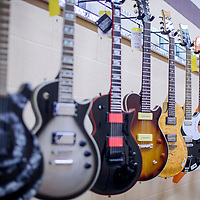 A selection of electric guitars is available at Quintana's Music in downtown Gallup Friday.