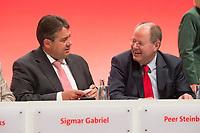 16 JUN 2013, BERLIN/GERMANY:<br /> Sigmar Gabriel (L), SPD Parteivorsitzender, und Peer Steinbrueck (R), SPD Kanzlerkandidat, im Gespraech, vor Beginn der SPD-Parteikonvents, Tempodrom<br /> IMAGE: 20130616-01-044<br /> KEYWORDS: Peer Steinbrück, Gespräch