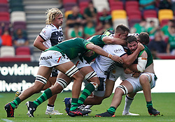 London Irish's Ben Donnell (right) is tackled during the Gallagher Premiership match at the Brentford Community Stadium, London. Picture date: Sunday September 26, 2021.
