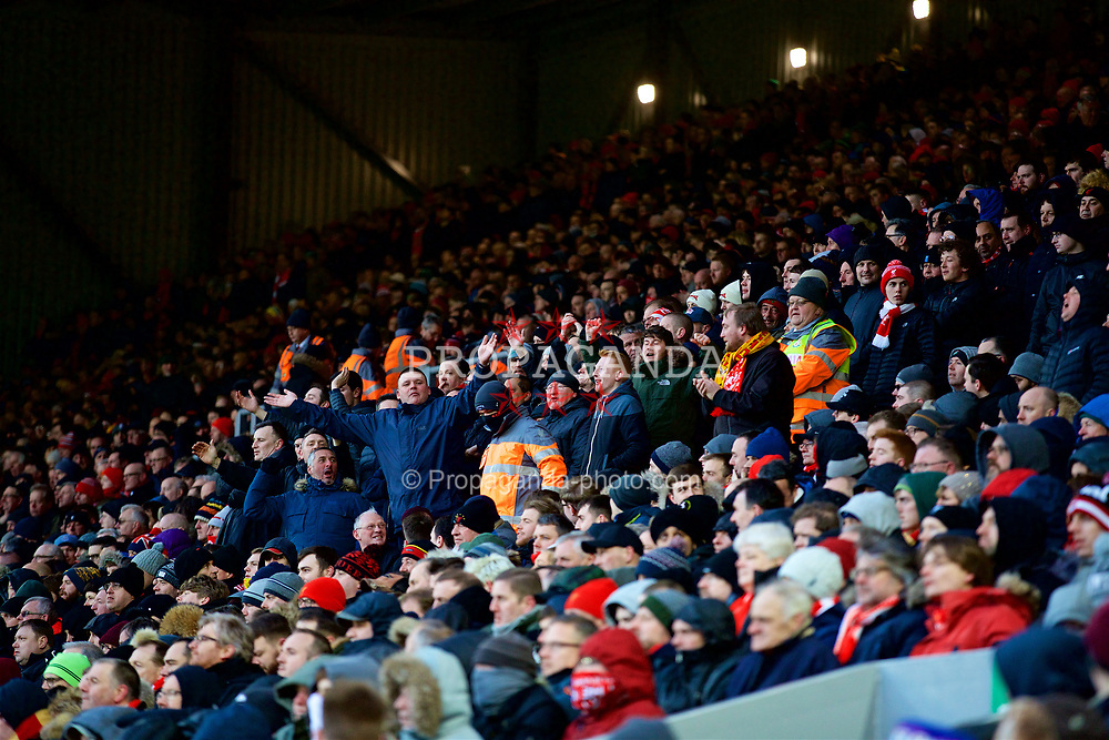 LIVERPOOL, ENGLAND - Saturday, March 17, 2018: Liverpool supporters standing on the Spion Kop during the FA Premier League match between Liverpool FC and Watford FC at Anfield. (Pic by David Rawcliffe/Propaganda)