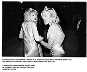 Courtney Love & Amanda de Cadenet at at  the Oscar Night party hosted by Steve Tisch and Vanity Fair. Morton's. Los Angeles. March 1995. Film. 95555/35<br /> © Copyright Photograph by Dafydd Jones<br /> 66 Stockwell Park Rd. London SW9 0DA<br /> Tel 0171 733 0108
