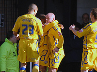 Photo: Ashley Pickering.<br />Southend United v Leicester City. Coca Cola Championship. 03/03/2007.<br />Iain Hume of Leicester (no. 7) celebrates his goal with team mates (0-1)