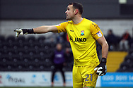 Craig Ross , the goalkeeper of Barnet in action. EFL Skybet Football League two match, Barnet v Lincoln City at the Hive in London on Saturday 20th January 2018. <br /> pic by Steffan Bowen, Andrew Orchard sports photography.