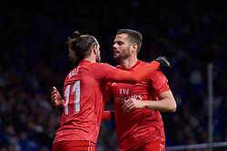 January 27, 2019 - Barcelona, U.S. - BARCELONA, SPAIN - JANUARY 27: Gareth Bale, forward of Real Madrid celebrates his goal with his teammate Nacho, defender of Real Madrid during the La Liga match between RCD Espanyol and Real Madrid CF at RCDE Stadium on January 27, 2019 in Barcelona, Spain. (Photo by Carlos Sanchez Martinez/Icon Sportswire) (Credit Image: © Carlos Sanchez Martinez/Icon SMI via ZUMA Press)