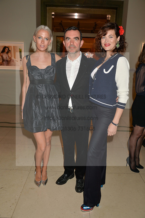 Left to right, the HON.SOPHIA HESKETH, SIMON ABOUD and JASMINE GUINNESS at the De Beers Moments in Light - a celebration of telented women in association with Women For Women International featuring photographs by Mary McCartney held at Claridge's, Brook Street, London on 18th September 2015.