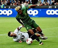 Fotball , 2. august 2017 , Qual. Champions League<br /> Rosenborg - Celtic 0-1<br /> Scott Sinclair ,  Celtic  <br /> Mike Jensen , RBK