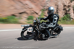 Scott Blaylock riding his 1928 BMW R62 during Stage 9 (249 miles) of the Motorcycle Cannonball Cross-Country Endurance Run, which on this day ran from Burlington to Golden, CO., USA. Sunday, September 14, 2014.  Photography ©2014 Michael Lichter.