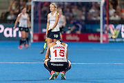 England's Alex Danson drops her head after they are beaten in the quarter final. The Netherlands v England - Quarter Final Vitality Hockey Women's World Cup, Lee Valley Hockey and Tennis Centre, London, UK on 02 August 2018. Photo: Simon Parker