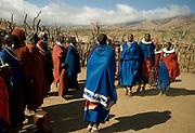 Maasai people singing and dancing. Northern Tanzania.