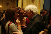 LADY RUTH ROGERS, CAROLINE MICHEL AND SEAMUS HEANEY. Seamus Heaney reading and party. Irish Embassy. Grosvenor Place. 21 April 2006. ONE TIME USE ONLY - DO NOT ARCHIVE  © Copyright Photograph by Dafydd Jones 66 Stockwell Park Rd. London SW9 0DA Tel 020 7733 0108 www.dafjones.com