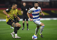 Football - 2020 / 2021 Sky Bet Championship - Watford vs Queens Park Rangers - Vicarage Road<br /> <br /> Yoann Barbet of Queens Park Rangers holds off the challenge from William Troost-Ekong of Watford.<br /> <br /> COLORSPORT/ASHLEY WESTERN