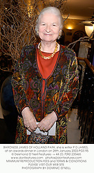 BARONESS JAMES OF HOLLAND PARK, she is writer P D JAMES,  at an awards dinner in London on 28th January 2003.PGS 95