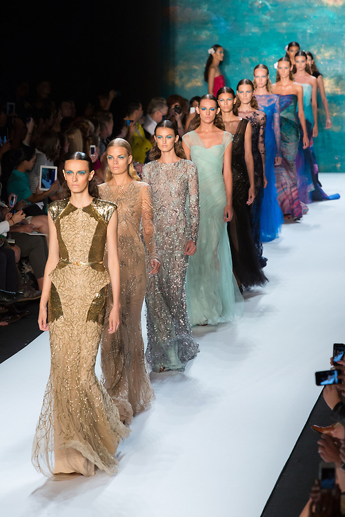 The finale of the Monique Lhuillier show at the Spring 2013 Mercedes-Benz Fashion Week in New York.