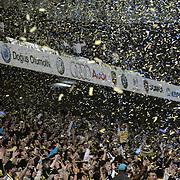 Fenerbahce's supporters celebrate victory during their Turkish superleague soccer derby match Fenerbahce between Besiktas at Sukru Saracaoglu stadium in Istanbul Turkey on Sunday 18 April 2010. Photo by TURKPIX