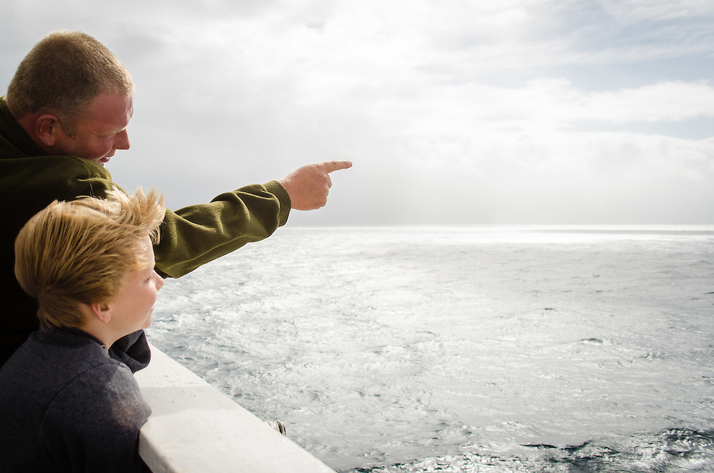 Cook Strait, NEW ZEALAND - January 17: Father and son enjoying their trip on the Interislander Kaitaki. January 17, 2015 in Cook Stait, New Zealand. REAL PEOPLE. (Photo by Elias Rodriguez/ real-people.co.nz)