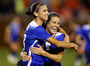 CHATTANOOGA, TN - AUGUST 19:  Forward Alex Morgan #13 of the United States celebrates with defender Kelley O'Hara #5 after Morgan's second half goal during the friendly match against Costa Rica at Finley Stadium on August 19, 2015 in Chattanooga, Tennessee.  (Photo by Mike Zarrilli/Getty Images)