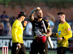 Somerset's Peter Trego ce/ebrates the win<br /> <br /> Photographer Simon King/Replay Images<br /> <br /> Vitality Blast T20 - Round 1 - Somerset v Gloucestershire - Friday 6th July 2018 - Cooper Associates County Ground - Taunton<br /> <br /> World Copyright © Replay Images . All rights reserved. info@replayimages.co.uk - http://replayimages.co.uk