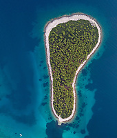Aerial view of the isolated island of Otok Murtar, Croatia.