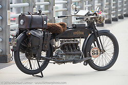 Andy Kaindl's 4-cylinder 1915 Henderson class-2 motorcycle brought all the way from Germany before the start of the Motorcycle Cannonball Race of the Century Run. Atlantic City, NJ, USA. September 9, 2016. Photography ©2016 Michael Lichter.