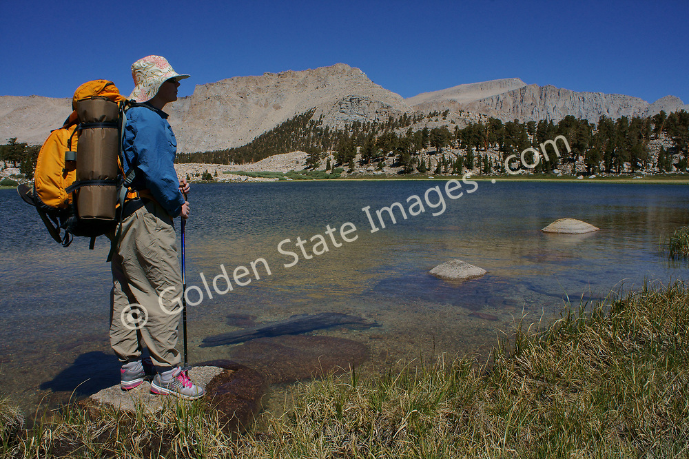 Backpacker with Mount Langley in background.
