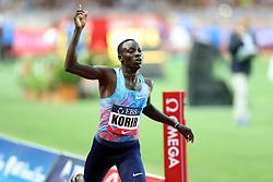 July 21, 2017 - Monaco, Monaco - Emmanuel Korir of Kenya celebrates as he crosses the finish line during the 800m of the IAAF Diamond League Herculis meeting at the Stade Louis II in Monaco on July 17, 2017. (Credit Image: © Manuel Blondeau via ZUMA Wire)