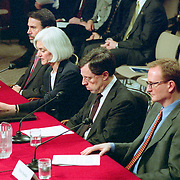 Commission staffers delivering a Staff Statement at the 9/11 Commission's 9th Public Hearing, held in Washington DC. This was a special hearing to hear the testimony of National Security Adviser Condoleezza Rice.