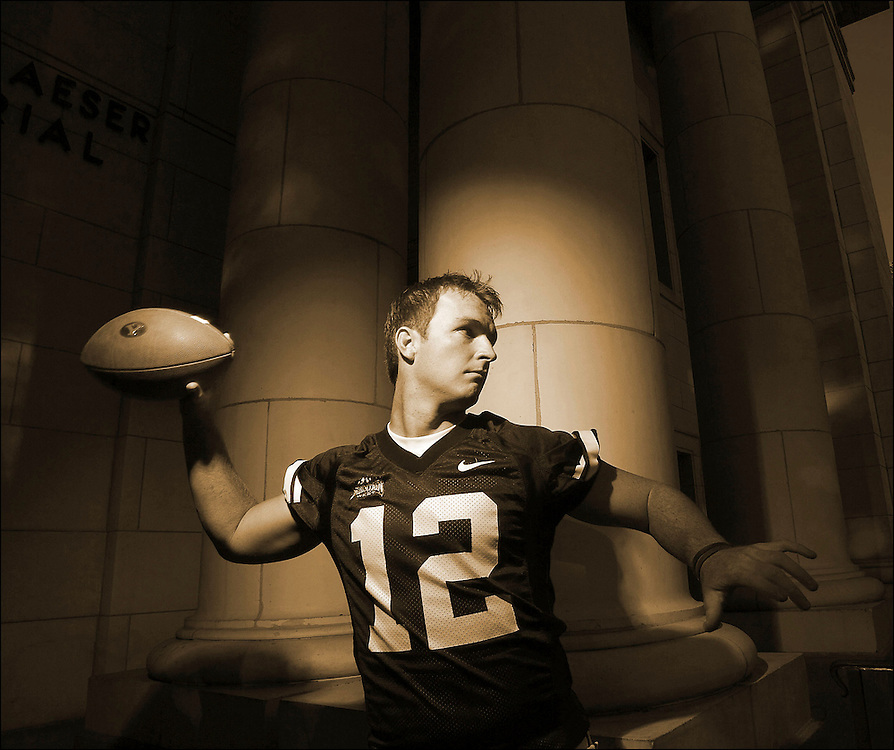 John Beck BYU quarterback portrait shoot on the BYU campus Maeser Building in Provo, Utah Wednesday August 2, 2006.  (August Miller)