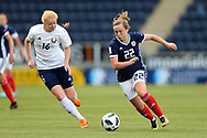 Erin Cuthbert (#22) of Scotland takes on Ksenia Kubichnaya (#16) of Belarus during the FIFA Women's World Cup UEFA Qualifier match between Scotland Women and Belarus Women at Falkirk Stadium, Falkirk, Scotland on 7 June 2018. Picture by Craig Doyle.