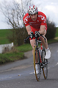 United Kingdom, Finchingfield, Mar 27, 2010:  Peter Balls, West Suffolk Wheelers, approaches the 4 miles to go marker during the 2010 edition of the'Jim Perrin' Memorial Hardriders 25.5 mile Sporting TT promoted by Chelmer Cycling Club. Copyright 2010 Peter Horrell.