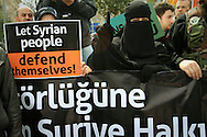 Turkish and Syrian anti-Assad demonstrators hold a rally outside the Istanbul Congress Centre, where the Second Conference of the Group of Friends of the Syrian People was being held, Istanbul, April 1st 2012. Bradley Secker / ENN