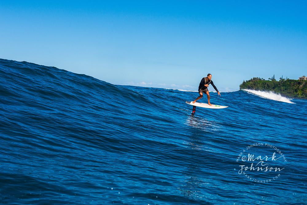 Foil surfing, Hanalei Bay, Kauai, Hawaii ***Model Release available