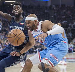 March 19, 2018 - Sacramento, CA, USA - Sacramento Kings guard Vince Carter (15) loses the ball against the Detroit Pistons forward James Ennis III (33) during their game at the Golden 1 Center Monday, March 19, 2018 in Sacramento, Calif. The Pistons won, 106-90. (Credit Image: © Hector Amezcua/TNS via ZUMA Wire)