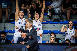 Lorela Cubaj of Italy, Marco Crespi, head coach of Italy and Sabrina Cinili of Italy during basketball match between Women National teams of Italy and Slovenia in Group phase of Women's Eurobasket 2019, on June 30, 2019 in Sports Center Cair, Nis, Serbia. Photo by Vid Ponikvar / Sportida