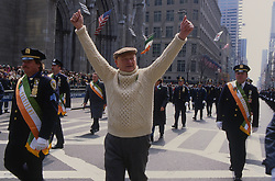 Former NYC mayor Ed Koch takes part in the annual St Patrick's day parade on Fifth avenue NYC, 17 March 1992.