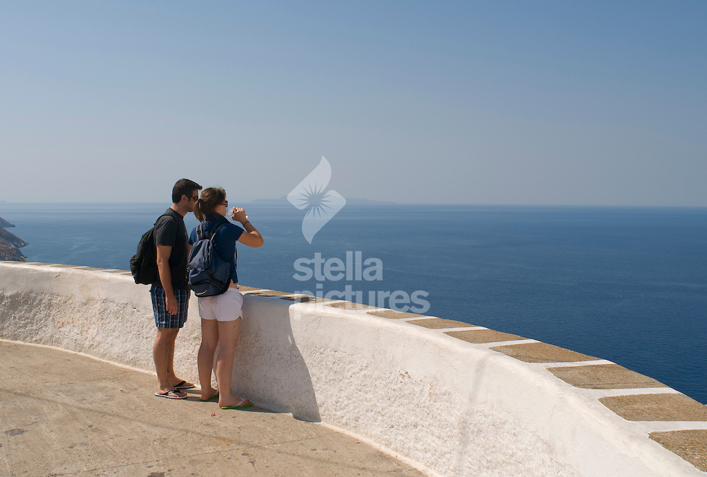 Picture by Daniel Hambury. .25/7/09.The main look out point at Chora on the Greek island of Folegandros