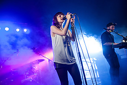 Chvrches play there BBC introducing tent, Sunday, T in the Park 2014.<br /> © Michael Schofield.