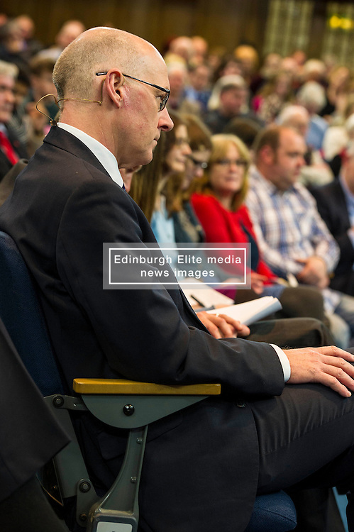 Pictured: John Swinney<br /> <br /> The People Politics Hustings,  organised by the Church of Scotland, allowed voters to question SNP deputy John Swinney, Scottish Labour leader Kezia Dugdale, Scottish Liberal Democrat leader Willie Rennie, Scottish Greens co-convener Patrick Harvie and former Scottish Conservatives leader Annabel Goldie ahead of the Scottish Elections. Before the politicians had a chance to speak they had a chance to listen to five speakers with different viewpoints on how Scotland has supported them in the past and how it should support them in the future..<br /> Ger Harley   EEm 4 April 2016