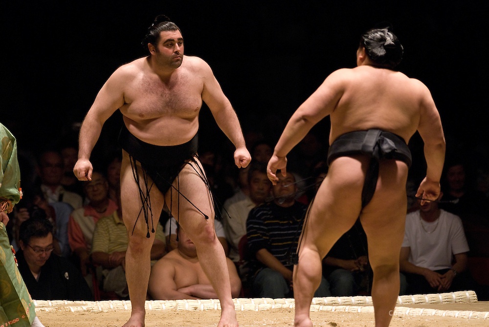 Kokkai (left) faces off with Hokutoriki in the second round of Day 1 of Grand Sumo Tournament Los Angeles 2008, Los Angeles Sports Arena, Los Angeles, California