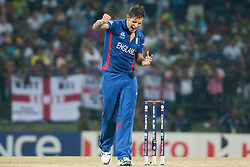 © Licensed to London News Pictures. 27/09/2012. English bowler Jade Dernbach celebrates after getting the wicket of Johnson Charles during the T20 Cricket World super 8's match between England Vs West Indies at the Pallekele International Stadium Cricket Stadium, Pallekele. Photo credit : Asanka Brendon Ratnayake/LNP