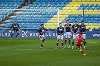 Football - 2020 /2021 Emirates FA Cup - Fourth Round : Millwall vs. Bristol City <br />  -  The Den<br /> <br /> Nahki Wells (Bristol City) curls the ball around the Millwall wall<br /> <br /> COLORSPORT/DANIEL BEARHAM