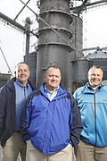 SHOT 10/29/18 9:55:06 AM - Sunrise Cooperative is a leading agricultural and energy cooperative based in Fremont, Ohio with members spanning from the Ohio River to Lake Erie. Sunrise is 100-percent farmer-owned and was formed through the merger of Trupointe Cooperative and Sunrise Cooperative on September 1, 2016. Photographed at the Clyde, Ohio grain elevator was George D. Secor President / CEO and John Lowry<br /> Chairman of the Board of Directors with  CoBank RM Gary Weidenborner. (Photo by Marc Piscotty © 2018)