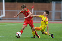 NEWPORT, WALES - Thursday, August 4, 2016: Regional Development Boys' Harvey Tattum [L] and  North Wales Academy Boys' Bradley Gibbings [R] during the Welsh Football Trust Cymru Cup 2016 at Newport Stadium. (Pic by Paul Greenwood/Propaganda)