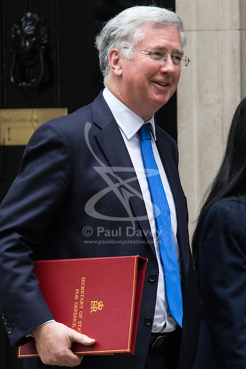 Downing Street, London, June 9th 2015. Defence Secretary Michael Fallon leaves 10 Downing Street following the weekly meeting of the Cabinet.